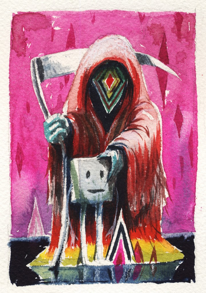 Jeff Soto -  <strong>Paris</strong> (2016<strong style = 'color:#635a27'></strong>)<bR /> watercolor on Arches paper, 5 x 3.5 inches, (12.7 x 8.9 cm)
