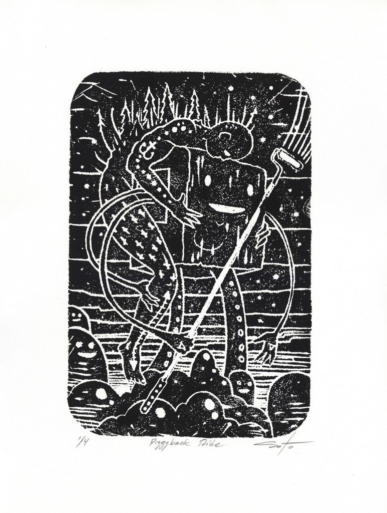 Jeff Soto -  <strong>Piggyback Ride edition 2/4</strong> (2016<strong style = 'color:#635a27'></strong>)<bR /> relief print on Arches paper, 13 x 9.5 inches, (33 x 24.1 cm)