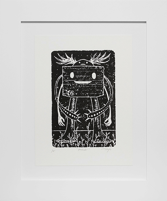 Jeff Soto -  <strong>Protector edition 1/8</strong> (2016<strong style = 'color:#635a27'></strong>)<bR /> relief print on Arches paper,  12 x 9 inches, (30.5 x 22.9 cm), framed: 18.5 x 15.5 inches, (47 x 39.4 cm)