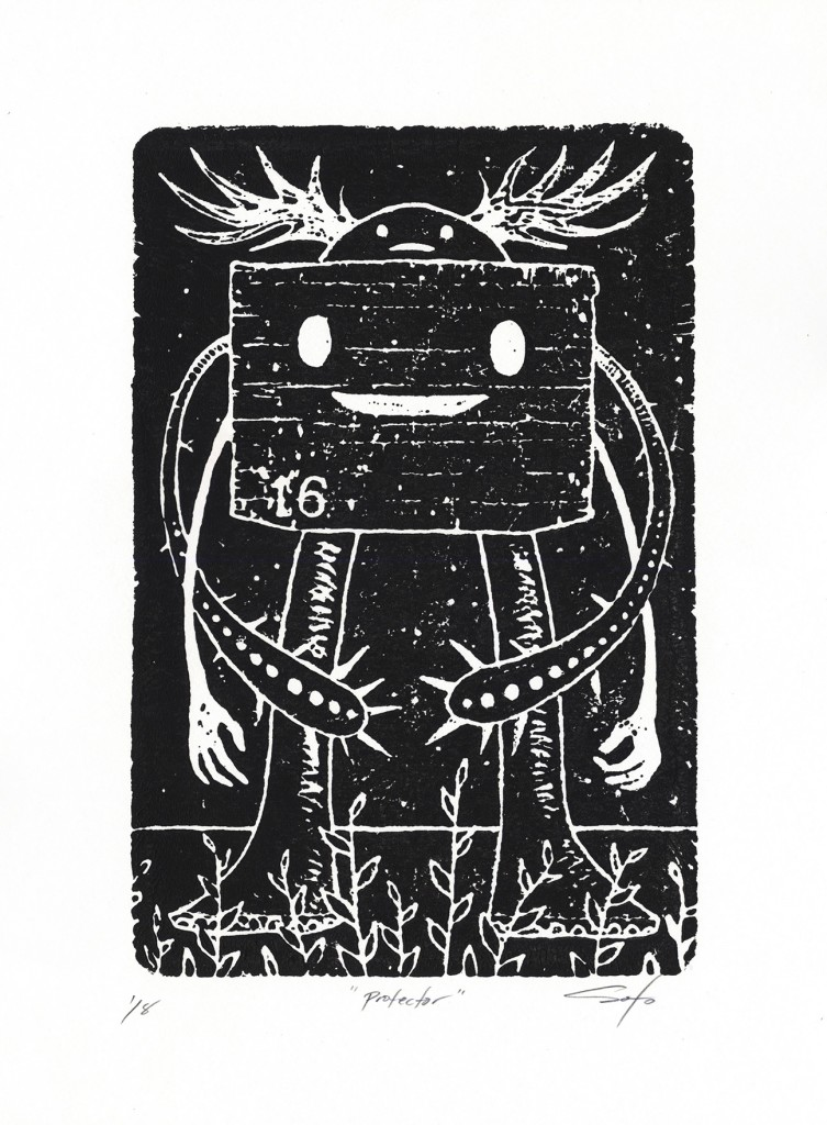 Jeff Soto -  <strong>Protector edition 3/8 and 5/8</strong> (2016<strong style = 'color:#635a27'></strong>)<bR /> relief print on Arches paper,  12 x 9 inches, (30.5 x 22.9 cm)