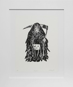 Jeff Soto -  <strong>Reaper edition 1/8</strong> (2016<strong style = 'color:#635a27'></strong>)<bR /> relief print on Arches paper, 