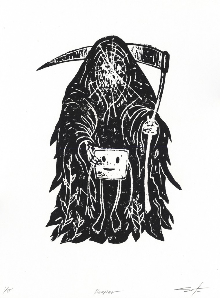 Jeff Soto -  <strong>Reaper edition 5/8</strong> (2016<strong style = 'color:#635a27'></strong>)<bR /> relief print on Arches paper,  12 x 9 inches, (30.5 x 22.9 cm)