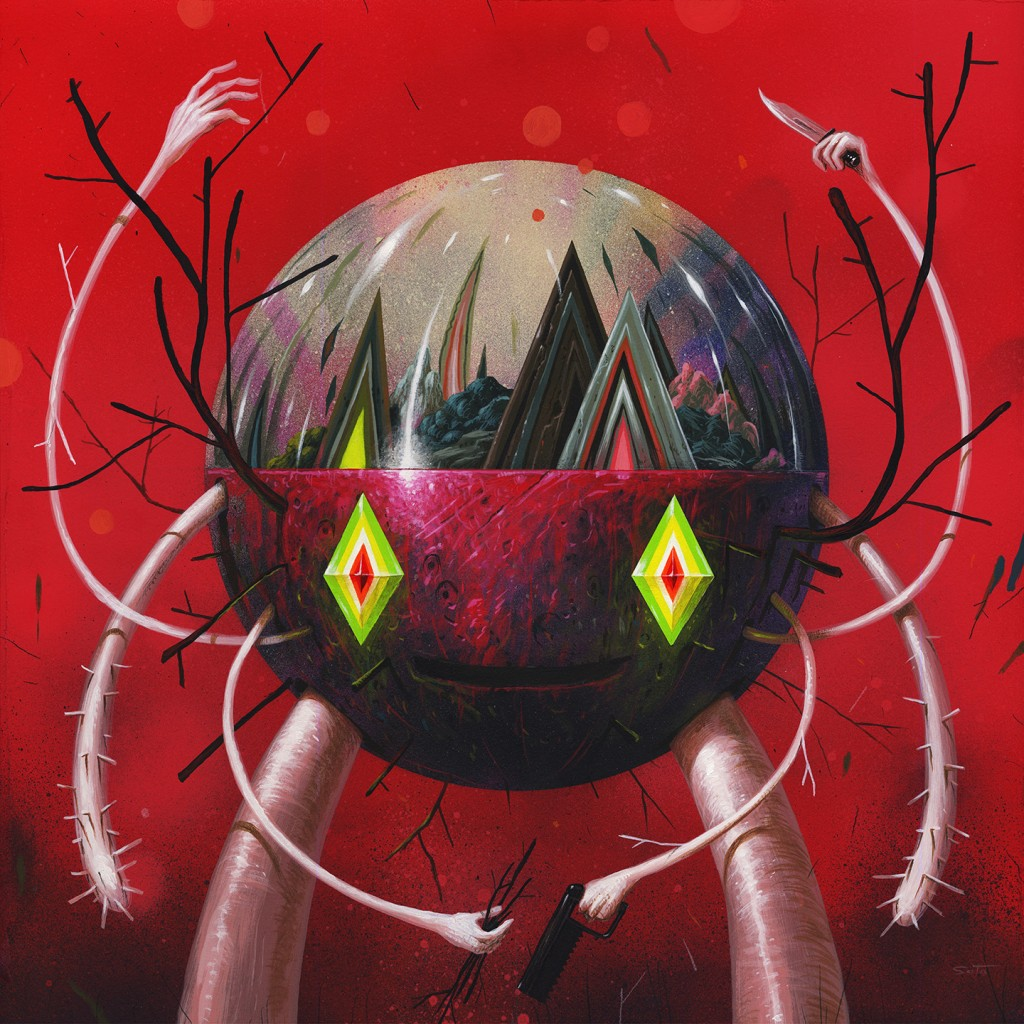 Jeff Soto -  <strong>Red Terrarium Keeper</strong> (2016<strong style = 'color:#635a27'></strong>)<bR /> acrylic on wood (framed), 19.75 x 19.75 inches, (50.2 x 50.2 cm), framed: 21 x 21 inches, (53.3 x 53.3 cm)