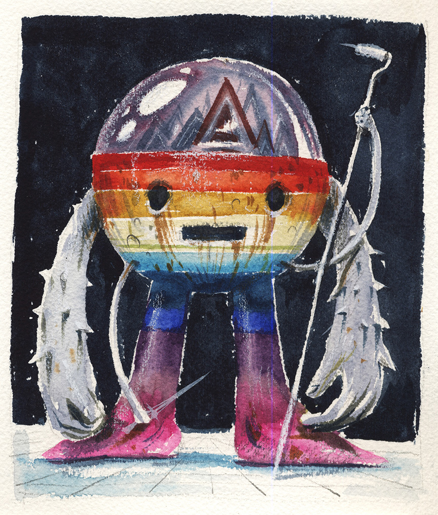 Jeff Soto -  <strong>San Francisco</strong> (2016<strong style = 'color:#635a27'></strong>)<bR /> watercolor on Arches paper, 6.25 x 5.25 inches, (15.9 x 13.3 cm)