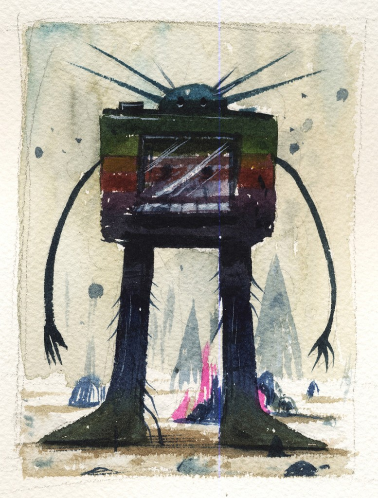 Jeff Soto -  <strong>Seattle</strong> (2016<strong style = 'color:#635a27'></strong>)<bR /> watercolor on Arches paper, 5 x 3.75 inches, (12.7 x 9.5 cm)