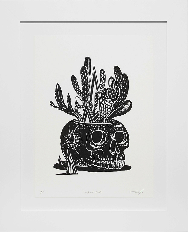 Jeff Soto -  <strong>Skull Pot edition 1/8</strong> (2016<strong style = 'color:#635a27'></strong>)<bR /> relief print on Arches paper,  15 x 11 inches, (38.1 x 27.9 cm), framed: 21.5 x 17.5 inches, (54.6 x 44.5 cm)