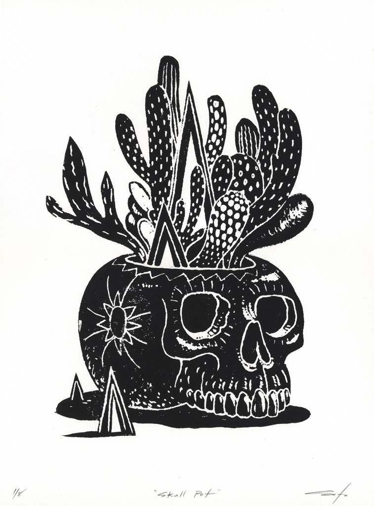 Jeff Soto -  <strong>Skull Pot edition 3/8 and 5/8</strong> (2016<strong style = 'color:#635a27'></strong>)<bR /> relief print on Arches paper,  15 x 11 inches, (38.1 x 27.9 cm)