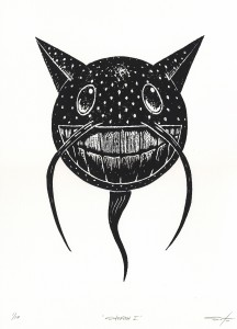 Jeff Soto -  <strong>Sotofish edition 3/10 and 5/10</strong> (2016<strong style = 'color:#635a27'></strong>)<bR /> relief print on Arches paper,  15 x 11 inches, (38.1 x 27.9 cm)