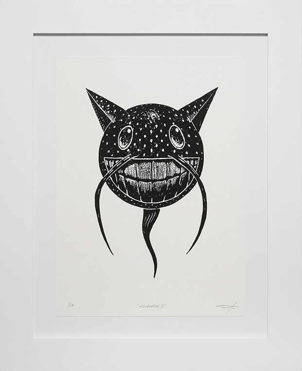 Jeff Soto -  <strong>Sotofish edition 1/10</strong> (2016<strong style = 'color:#635a27'></strong>)<bR /> relief print on Arches paper,  15 x 11 inches, (38.1 x 27.9 cm), framed: 21.5 x 17.5 inches, (54.6 x 44.5 cm)