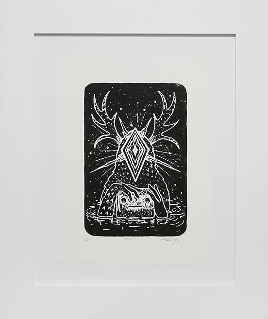 Jeff Soto -  <strong>Swim edition 1/8</strong> (2016<strong style = 'color:#635a27'></strong>)<bR /> relief print on Arches paper,  12 x 9 inches, (30.5 x 22.9 cm), framed: 18.5 x 15.5 inches, (47 x 39.4 cm)