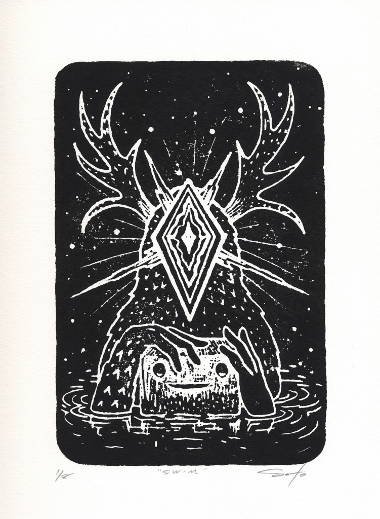 Jeff Soto -  <strong>Swim edition 3/8 and 5/8</strong> (2016<strong style = 'color:#635a27'></strong>)<bR /> relief print on Arches paper,  12 x 9 inches, (30.5 x 22.9 cm)
