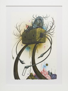 Jeff Soto -  <strong>The Builder</strong> (2014<strong style = 'color:#635a27'></strong>)<bR /> acrylic and aerosol on paper,  22 x 15 inches,  (56 x 38 cm), framed: 30 x 22.5 inches, (76.2 x 57.1 cm)