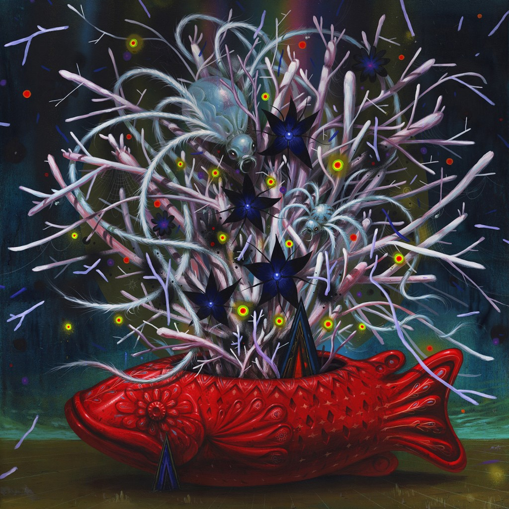 Jeff Soto -  <strong>The Magic Message</strong> (2016<strong style = 'color:#635a27'></strong>)<bR /> acrylic on wood (framed), 36 x 36 inches, (91.4 x 91.4 cm), framed: 37.25 x 37.25 inches, (94.6 x 94.6 cm) $7,000