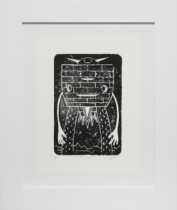 Jeff Soto -  <strong>Tres Cara edition 1/8</strong> (2016<strong style = 'color:#635a27'></strong>)<bR /> relief print on Arches paper,  12 x 9 inches, (30.5 x 22.9 cm), framed: 18.5 x 15.5 inches, (47 x 39.4 cm)