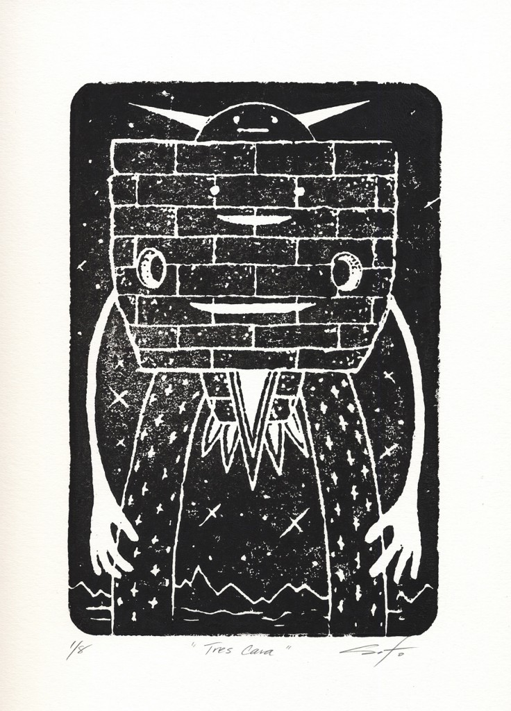 Jeff Soto -  <strong>Tres Cara edition 3/8 and 5/8</strong> (2016<strong style = 'color:#635a27'></strong>)<bR /> relief print on Arches paper,  12 x 9 inches, (30.5 x 22.9 cm)