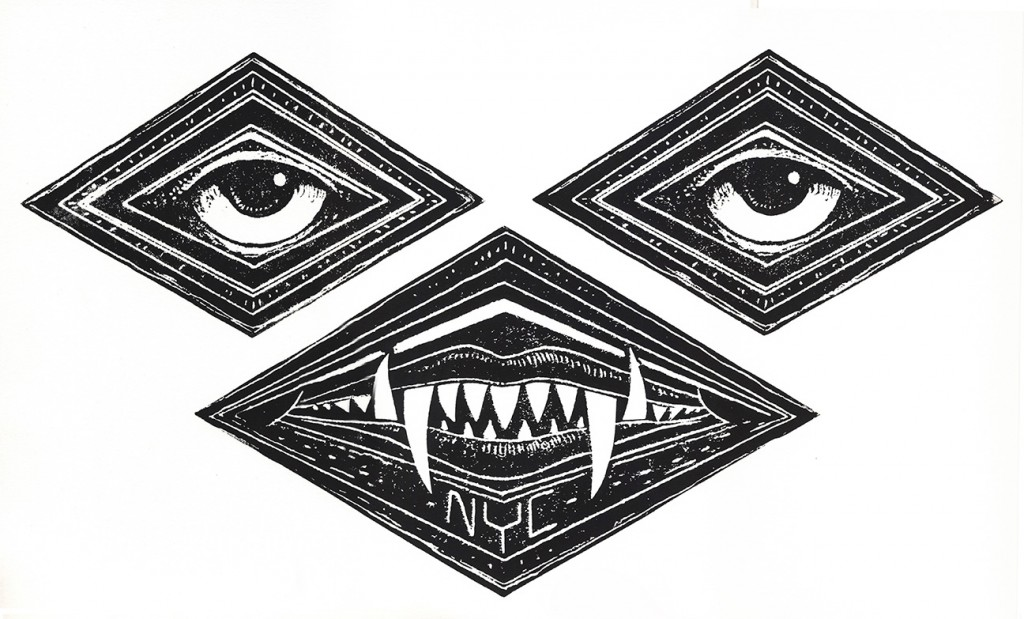 Jeff Soto -  <strong>Vampire edition 3/5</strong> (2016<strong style = 'color:#635a27'></strong>)<bR /> relief print on Arches paper,  13 x 20 inches, (33 x 50.8 cm)