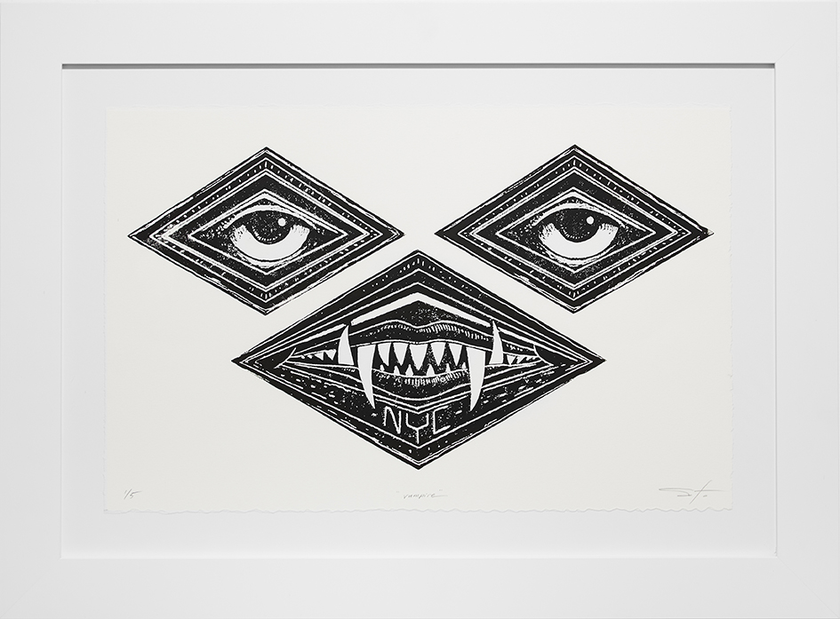 Jeff Soto -  <strong>Vampire edition 1/5</strong> (2016 <strong style = 'color:#635a27'></strong>)<bR /> relief print on Arches paper,  13 x 20 inches, (33 x 50.8 cm), framed: 19.5 x 26.5 inches, (49.5 x 67.3 cm) $400