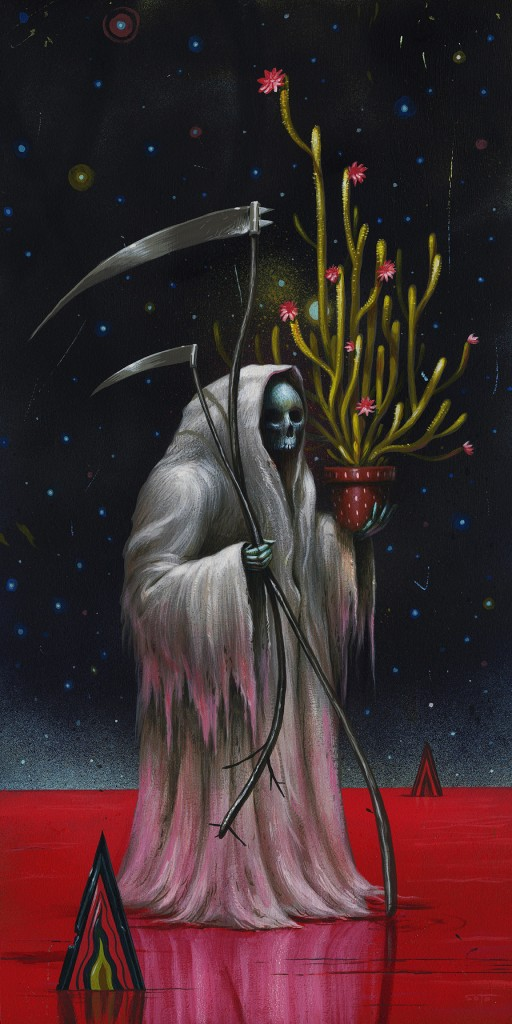 Jeff Soto -  <strong>White Ghost</strong> (2016<strong style = 'color:#635a27'></strong>)<bR /> acrylic on wood (framed), 24 x 12 inches, (61 x 30.5 cm), framed: 25.125 x 13.25 inches, (63.8 x 33.7 cm)