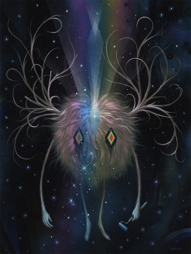 Jeff Soto -  <strong>Winter Nights</strong> (2015<strong style = 'color:#635a27'></strong>)<bR /> acrylic on wood (framed), 24 x 18 inches, (61 x 45.7 cm), framed: 25.25 x 19.25 inches, (64.1 x 48.9 cm)