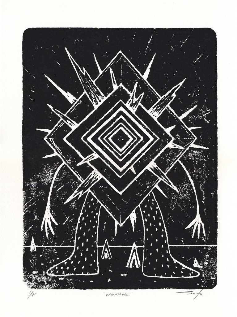 Jeff Soto -  <strong>Wormhole edition 3/8 and 5/8</strong> (2016<strong style = 'color:#635a27'></strong>)<bR /> relief print on Arches paper,  15 x 11 inches, (38.1 x 27.9 cm)