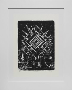 Jeff Soto -  <strong>Wormhole edition 1/8</strong> (2016<strong style = 'color:#635a27'></strong>)<bR /> relief print on Arches paper, 