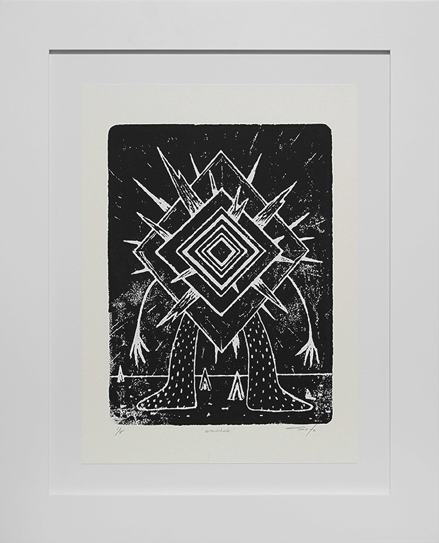 Jeff Soto -  <strong>Wormhole edition 1/8</strong> (2016<strong style = 'color:#635a27'></strong>)<bR /> relief print on Arches paper,  15 x 11 inches, (38.1 x 27.9 cm), framed: 21.5 x 17.5 inches, (54.6 x 44.5 cm)
