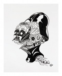 Nychos -  <strong>Dissection of Darth Vader's Head</strong> (2016<strong style = 'color:#635a27'></strong>)<bR /> ink on paper, 24 x 19 in. (61 x 48.3 cm) $2,000