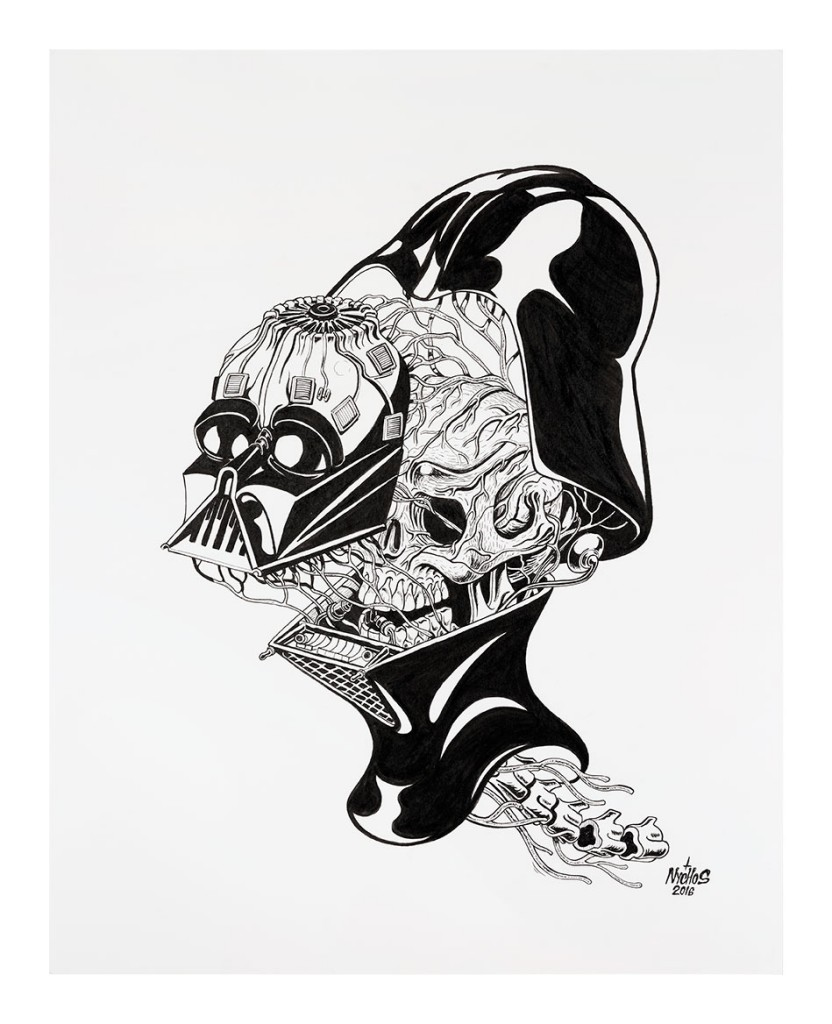 Nychos -  <strong>Dissection of Darth Vader's Head</strong> (2016<strong style = 'color:#635a27'></strong>)<bR /> ink on paper, 24 x 19 in. (61 x 48.3 cm)