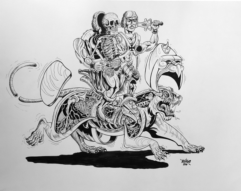 Nychos -  <strong>Dissection of He-Man</strong> (2016<strong style = 'color:#635a27'></strong>)<bR /> ink on paper, 19 x 24 in. (48.3 x 61 cm)