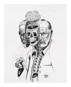 Nychos -  <strong>Dissection of Sigmund Freud</strong> (2016<strong style = 'color:#635a27'></strong>)<bR /> ink on paper, 24 x 19 in. (61 x 48.3 cm) $2,000
