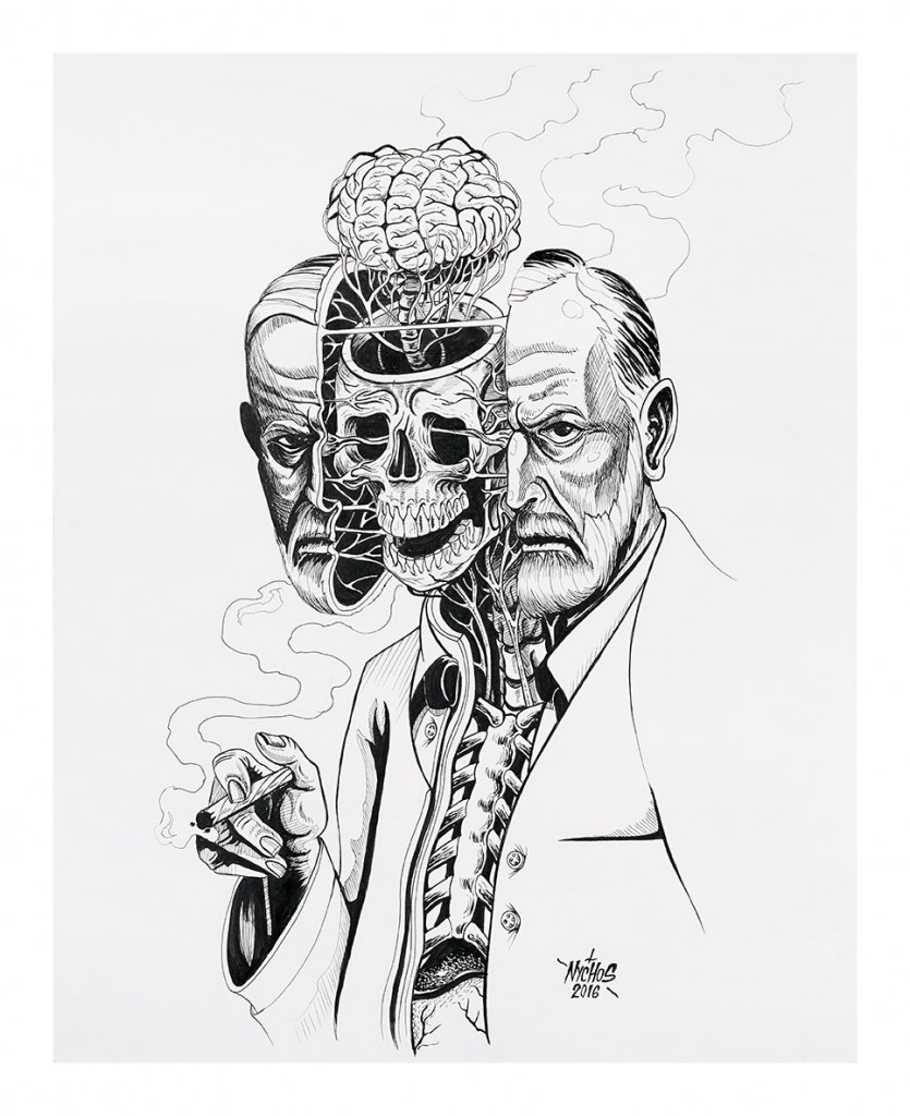 Nychos -  <strong>Dissection of Sigmund Freud</strong> (2016<strong style = 'color:#635a27'></strong>)<bR /> ink on paper, 24 x 19 in. (61 x 48.3 cm)