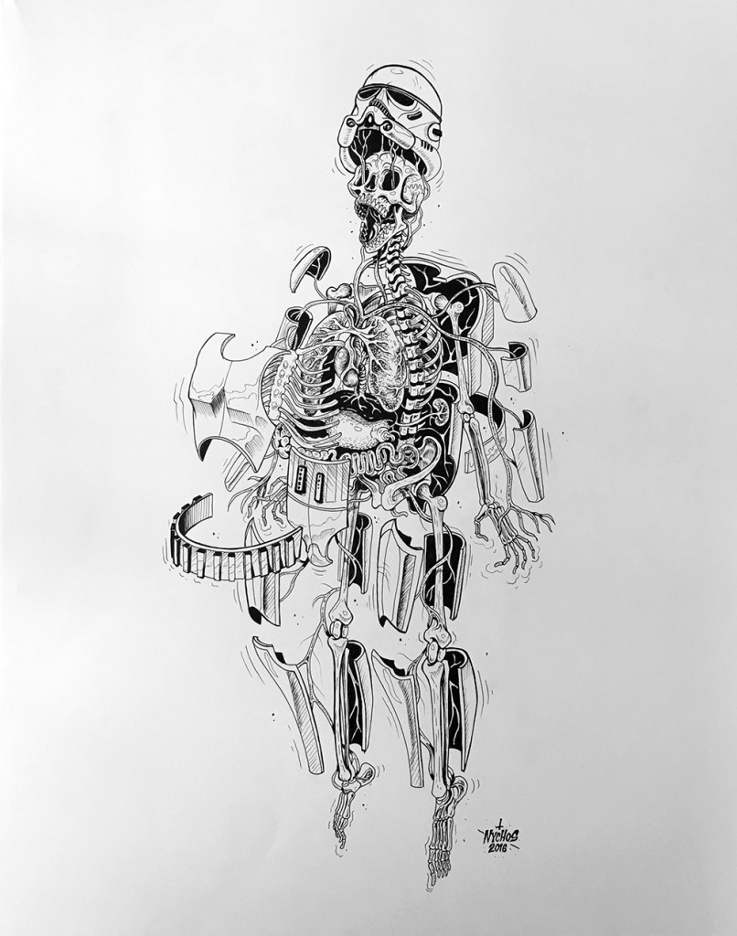 Nychos -  <strong>Dissection of a Stormtrooper</strong> (2016<strong style = 'color:#635a27'></strong>)<bR /> ink on paper, 24 x 19 in. (61 x 48.3 cm)