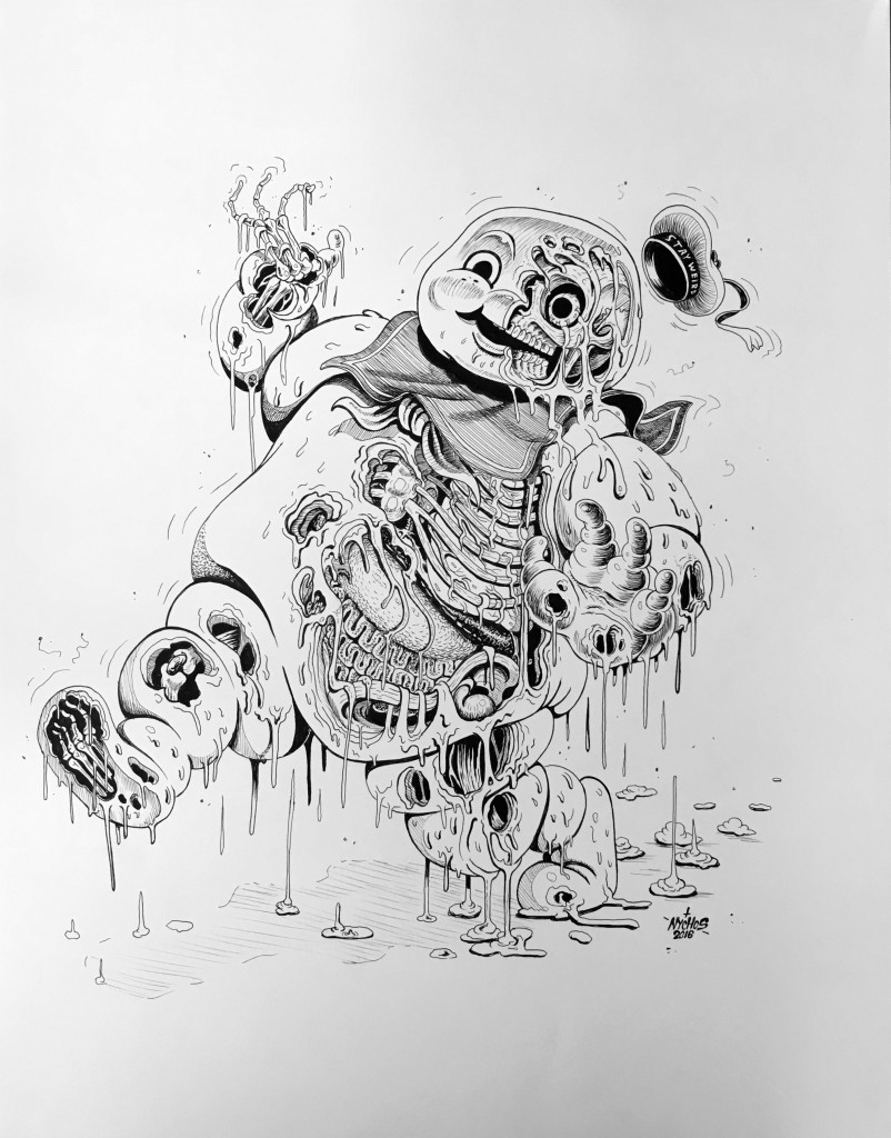Nychos -  <strong>Marshmallow Meltdown</strong> (2016<strong style = 'color:#635a27'></strong>)<bR /> ink on paper, 24 x 19 in. (61 x 48.3 cm)