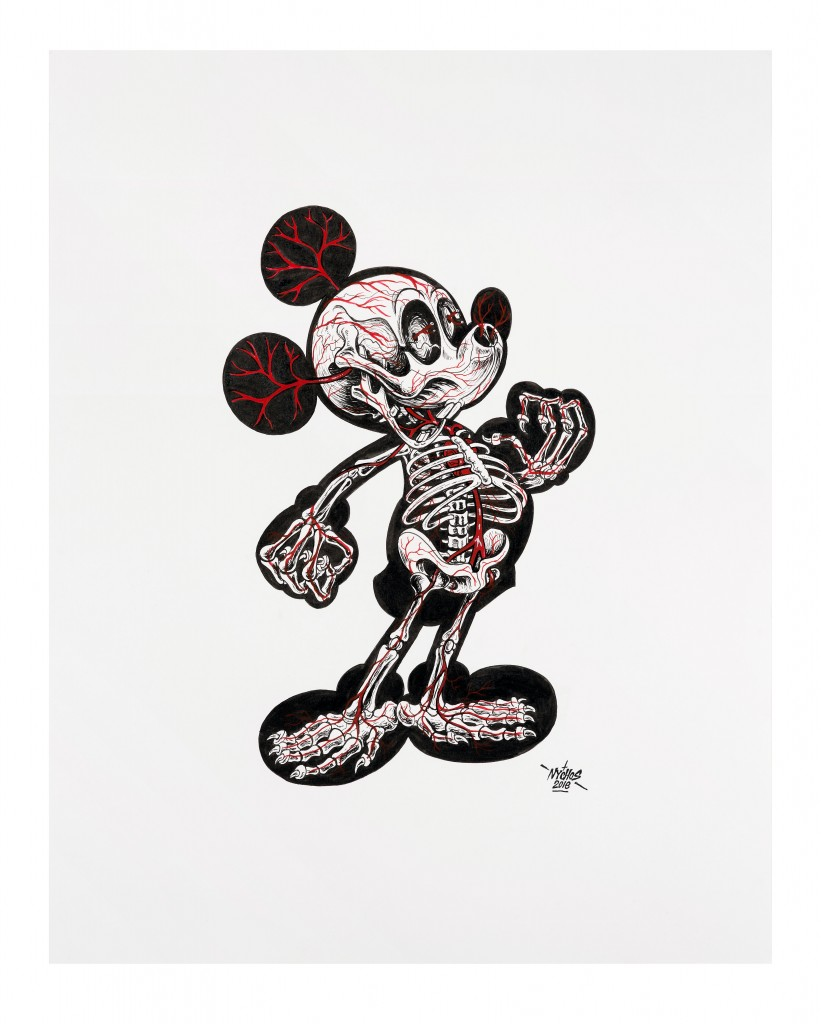 Nychos -  <strong>X-Ray of Mickey</strong> (2016<strong style = 'color:#635a27'></strong>)<bR /> ink on paper, 24 x 19 in. (61 x 48.3 cm)