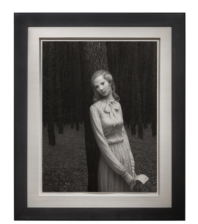 Aron Wiesenfeld -  <strong>Eleanor</strong> (2016<strong style = 'color:#635a27'></strong>)<bR /> charcoal on paper, 50 x 38 inches, (127 x 96.52 cm), framed: 68 x 56 inches, (172.72 x 142.24 cm)