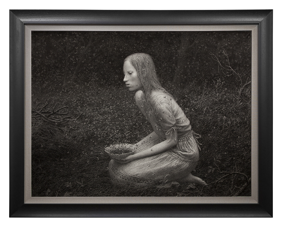 Aron Wiesenfeld -  <strong>Offering</strong> (2016<strong style = 'color:#635a27'></strong>)<bR /> charcoal on paper, 38 x 50 inches, (96.52 x 127 cm), framed: 48 x 60 inches, (121.92 x 152.4 cm)