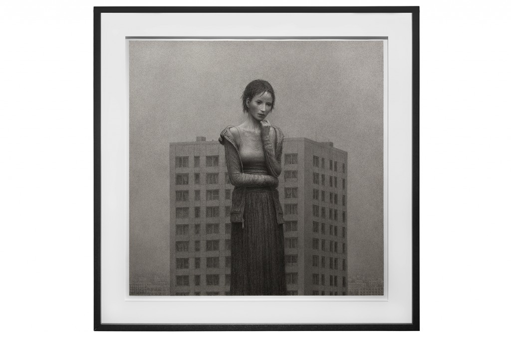 Aron Wiesenfeld -  <strong>The Tower</strong> (2016<strong style = 'color:#635a27'></strong>)<bR /> charcoal on paper, 42 x 42 inches, (106.68 x 106.68 cm), framed: 49 x 49 inches, (124.46 x 124.46 cm)