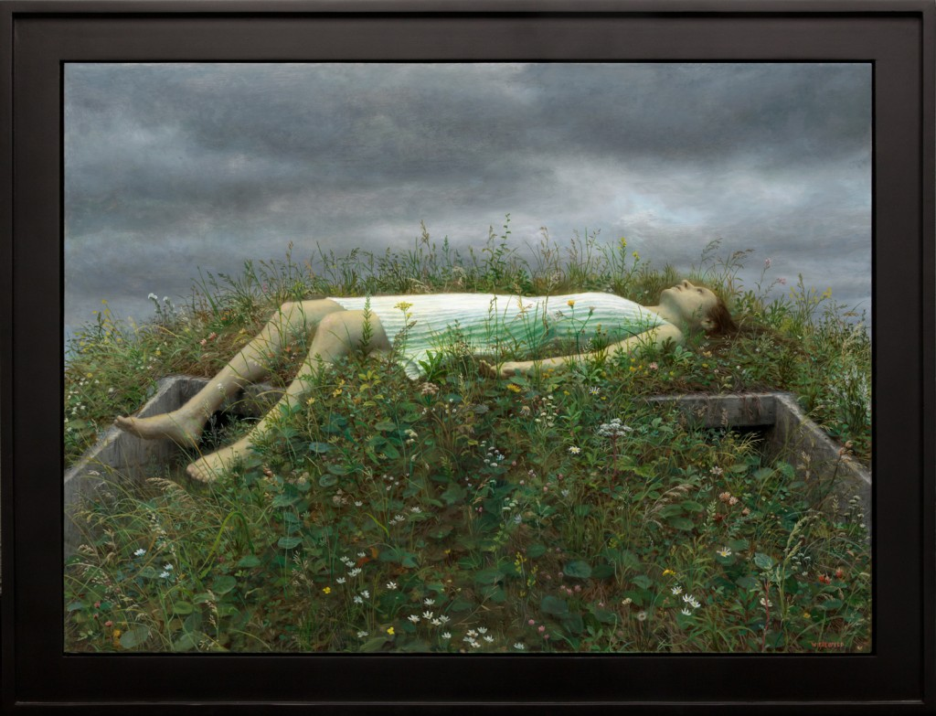 Aron Wiesenfeld -  <strong>Bunker</strong> (2016<strong style = 'color:#635a27'></strong>)<bR /> oil on canvas,  33.5 x 44.5 inches,  (85.09 x 113.03 cm), framed: 40.5 x 51.5 inches, (102.87 x 130.81 cm)