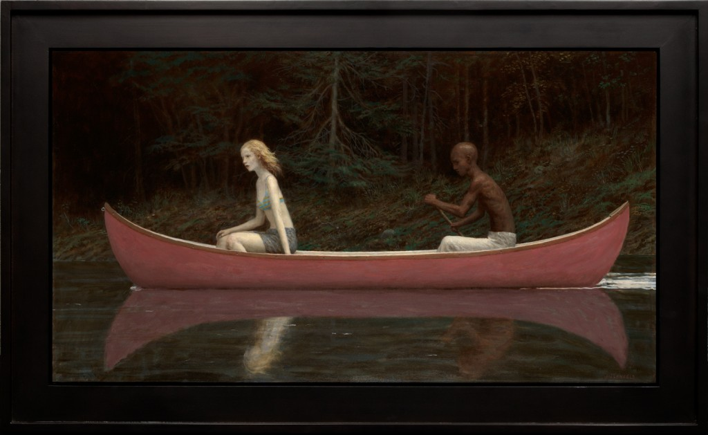 Aron Wiesenfeld -  <strong>Canoe</strong> (2016<strong style = 'color:#635a27'></strong>)<bR /> oil on canvas,  23 x 42 inches, (58.42 x 106.68 cm), framed: 30 x 49 inches, (76.2 x 124.46 cm)