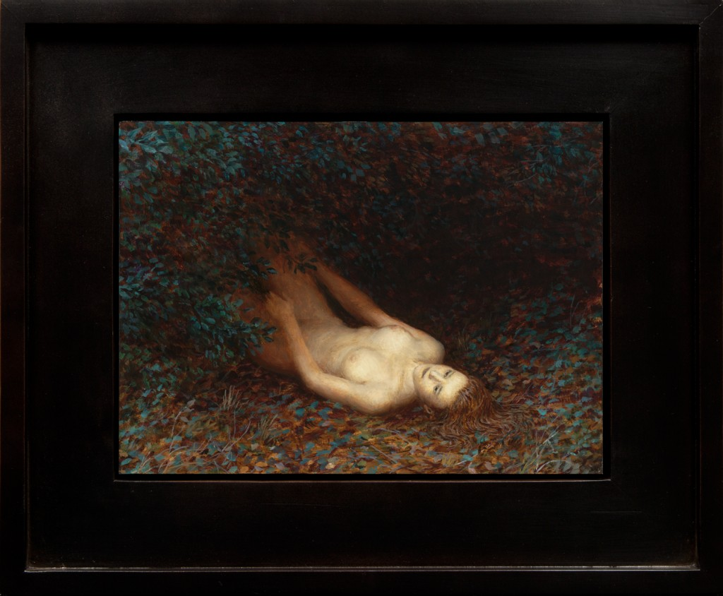 Aron Wiesenfeld -  <strong>Daughter</strong> (2016<strong style = 'color:#635a27'></strong>)<bR /> oil on panel, 10.25 x 14 inches, (26.04 x 35.56 cm), framed: 17.25 x 21 inches, ( 43.82 x 53.34 cm) $5,000