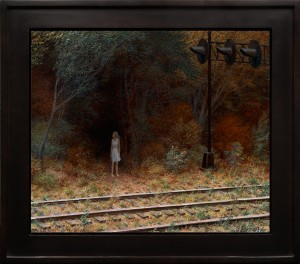 Aron Wiesenfeld -  <strong>Eva</strong> (2016<strong style = 'color:#635a27'></strong>)<bR /> oil on canvas, 23 x 27 inches, (58.42 x 68.58 cm), framed: 30 x 34 inches, (76.2 x 86.36 cm)