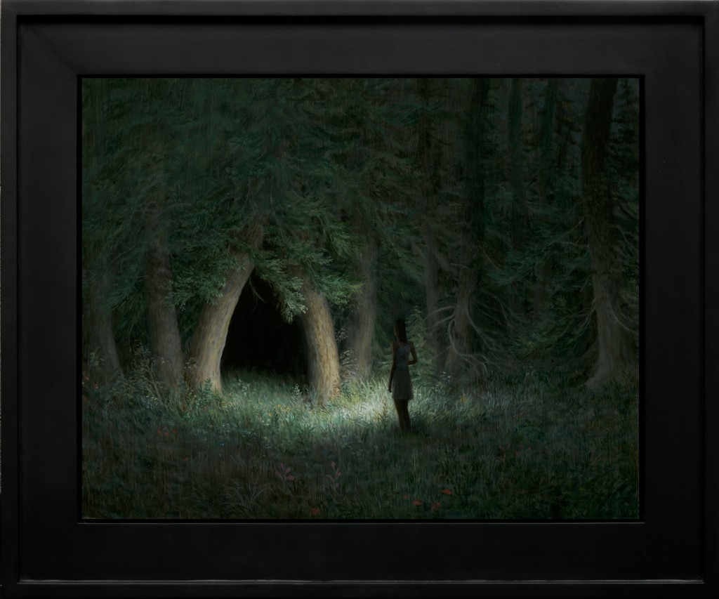 Aron Wiesenfeld -  <strong>Night Grove</strong> (2016<strong style = 'color:#635a27'></strong>)<bR /> oil on panel, 19 x 24 inches, (48.26 x 60.96 cm), framed:  26 x 31 inches, (66.04 x 78.74 cm)