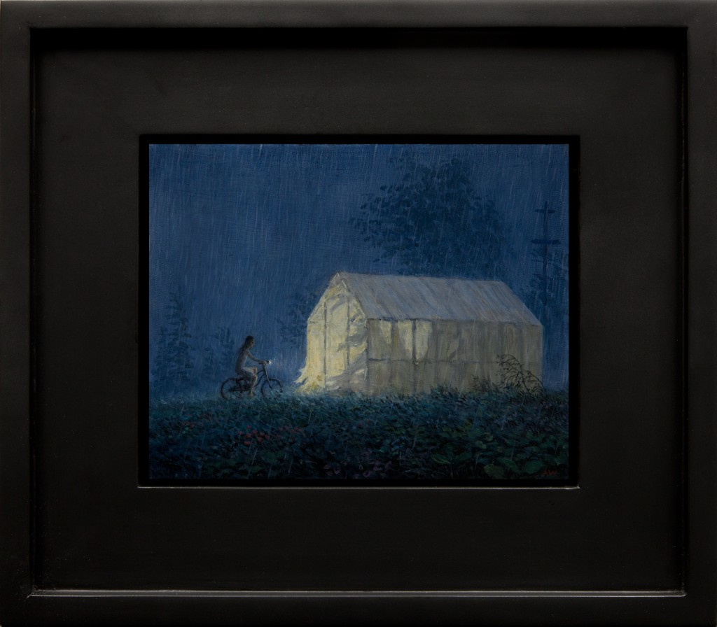 Aron Wiesenfeld -  <strong>Shelter</strong> (2016<strong style = 'color:#635a27'></strong>)<bR /> oil on panel,  8 x 10 inches,  (20.32 x 25.4), framed: 15 x 17 inches, (38.1 x 43.18 cm)
