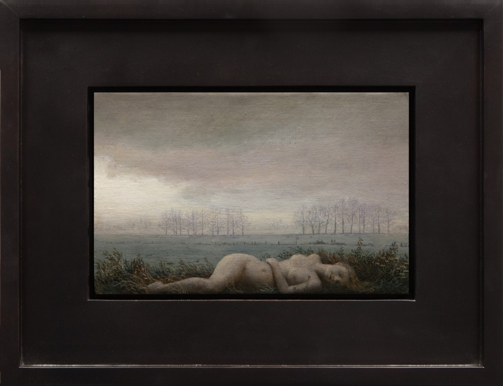 Aron Wiesenfeld -  <strong>The Field</strong> (2016<strong style = 'color:#635a27'></strong>)<bR /> oil on canvas, 7.5 x 12 inches, (19.05 x 30.48 cm), framed: 14.5 x 19 inches  (36.83 x 48.26 cm) $4,500