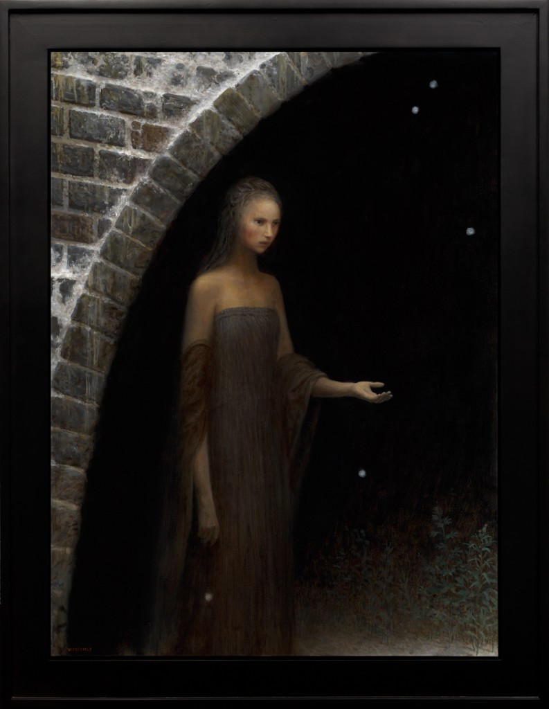 Aron Wiesenfeld -  <strong>The Handmaid</strong> (2016<strong style = 'color:#635a27'></strong>)<bR /> oil on canvas,  42 x 31 inches,  (106.68 x 78.74 cm), framed: 49 x 38 inches,  (124.46 x 96.52 cm)