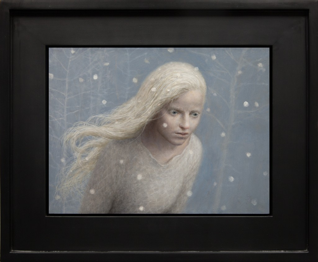 Aron Wiesenfeld -  <strong>The Messenger</strong> (2016<strong style = 'color:#635a27'></strong>)<bR /> oil on panel, 12 x 16 inches, (30.48 x 40.64 cm), framed: 19 x 23 inches, (48.26 x 58.42 cm)