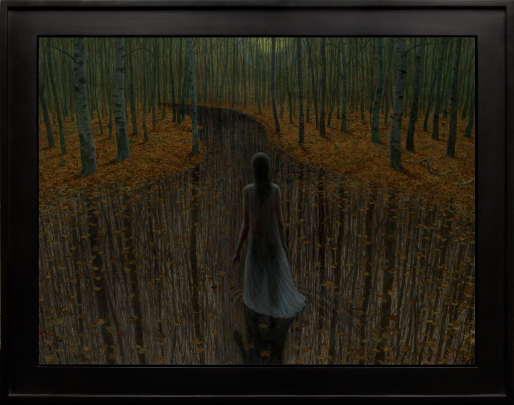 Aron Wiesenfeld -  <strong>The River</strong> (2016<strong style = 'color:#635a27'></strong>)<bR /> oil on canvas,  30 x 40 inches, (76.2 x 101.6 cm), framed: 37 x 47 inches, (93.98 x 119.38 cm)