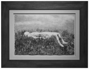 Aron Wiesenfeld -  <strong>Bunker</strong> (2016<strong style = 'color:#635a27'></strong>)<bR /> watercolor, gouache and monotype on paper, 15 x 22.5 inches, (38.1 x 57.15 cm), framed: 20 x 27 inches, (50.8 x 68.58 cm) $2,300