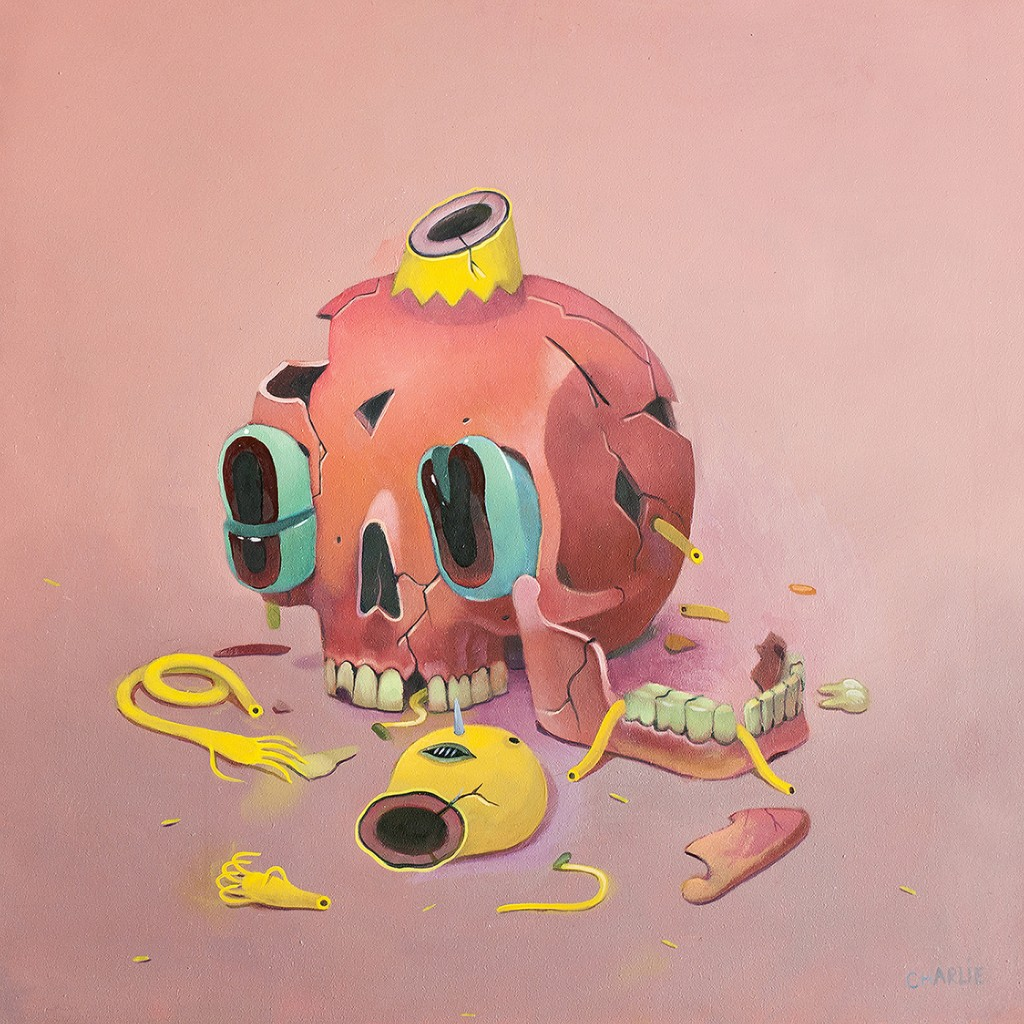 Charlie Immer -  <strong>Busted</strong> (2016<strong style = 'color:#635a27'></strong>)<bR /> oil on paper mounted on board,
