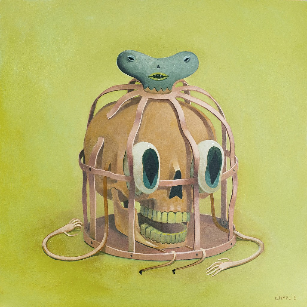 Charlie Immer -  <strong>Caged</strong> (2016<strong style = 'color:#635a27'></strong>)<bR /> oil on paper mounted on board,